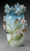 Art Glass:Other , AN ENGLISH MATSU-NO-KE CASED GLASS VASE. possibly Stevens andWilliams, c.1885. The blue cased, footed, rouleau form trans...