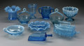 Art Glass:Other , TEN AMERICAN BLUE AND OPALESCENT GLASS SERVING PIECES. Variousmakers, c.1890. Comprising a Geo. Davidson & Co.clear... (Total: 10 Items)