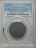 Colonials, 1785 C NOVA Nova Constellatio Copper, Pointed Rays, Small Date -- Environmental Damage -- PCGS Genuine. XF Details. NGC Cen...