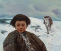 Fine Art - Painting, American:Contemporary   (1950 to present)  , American School (20th Century). Alaskan Girl. Oil on canvas.22 x 26 inches (55.9 x 66 cm). PROPERTY FROM THE ESTATE O...