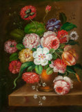 Fine Art - Painting, European:Antique  (Pre 1900), Continental School (Late 19th Century). Pair of Floral StillLifes. Oil on canvas, each. 16 x 12 inches (40.6 x 30.5 cm)...(Total: 2 Items)
