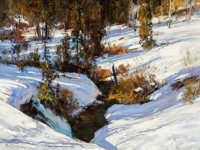 Cyrus Afsary (American, b. 1940) Shadows in the Snow Oil on canvas 18 x 24 inches (45.7 x 61 cm)<