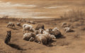 Fine Art - Work on Paper:Drawing, Attributed to Rosa Bonheur. Flock of Sheep, 1850. Charcoalon paper heightened with white on paper. 9 x 14-3/4 inches (2...