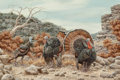 Fine Art - Painting, American:Contemporary   (1950 to present)  , Don Collins (American, 20th Century). Wild Turkeys. Oil onboard. 20 x 30 inches (50.8 x 76.2 cm). Signed lower right: ...