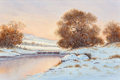 Fine Art - Painting, American:Modern  (1900 1949)  , Charles Summey (American, 20th Century). Winter Landscape.Oil on canvas. 23-3/4 x 35-3/4 inches (60.3 x 90.8 cm). Signe...