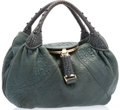 "Luxury Accessories:Bags, Fendi Green Lambskin Leather Spy Bag with Gold Hardware. VeryGood Condition. 12"" Width x 10"" Height x 5"" Depth, 5""Ha..."