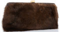 "Luxury Accessories:Accessories, Lambertson Truex Brown Mink Clutch Bag with Gold Hardware. VeryGood Condition. 10"" Width x 5"" Height x .5"" Depth. ..."