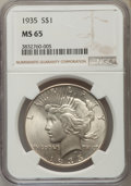 Peace Dollars: , 1935 $1 MS65 NGC. NGC Census: (732/75). PCGS Population (920/199). Mintage: 1,576,000. Numismedia Wsl. Price for problem fr...