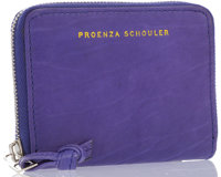"Proenza Schouler Purple Leather Zip Wallet Very Good Condition 4"" Width x 3"" Height x .5"" Depth</..."