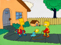 Animation Art:Production Cel, The Simpsons (Tracey Ullman Show) Bart, Lisa, andMaggie Production Cel and Key Master Background Setup (F...
