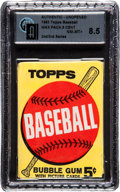Baseball Cards:Unopened Packs/Display Boxes, 1963 Topps Baseball 2nd/3rd Series 5-cent Wax Pack GAI NM-MT+ 8.5....