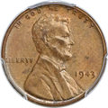 Lincoln Cents, 1943 1C Struck on a Bronze Planchet AU58 PCGS Secure. CAC....