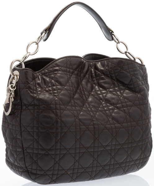 cde180625b04 Christian Dior Dark Brown Quilted Cannage Leather Lady Dior Sac ...