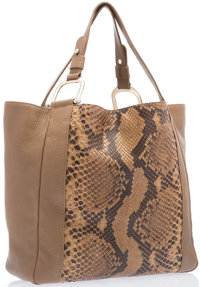 "Gucci Brown Python & Leather Tote Bag with Gold Hardware Excellent Condition 13"" Width x 14"" Heig"