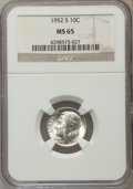 Roosevelt Dimes, (5)1952-S 10C MS65 NGC. NGC Census: (121/1284). PCGS Population (138/1065). Mintage: 44,419,500. Numismedia Wsl. Price for ... (Total: 5 item)
