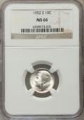 Roosevelt Dimes, 1952-S 10C MS66 NGC. NGC Census: (673/611). PCGS Population (805/260). Mintage: 44,419,500. Numismedia Wsl. Price for probl...
