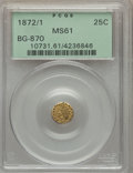 California Fractional Gold , 1872/1 25C Indian Round 25 Cents, BG-870, R.3 MS61 PCGS. PCGSPopulation (6/204). NGC Census: (2/38). ...