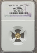 California Fractional Gold , (1853) 25C Liberty Round 25 Cents, BG-223, Low R.4 -- Obv Damage --NGC Details. Unc. NGC Census: (0/23). PCGS Population (...