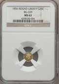 California Fractional Gold , 1856 25C Liberty Round 25 Cents, BG-229, R.4 MS62 NGC. NGC Census:(7/5). PCGS Population (44/46). ...