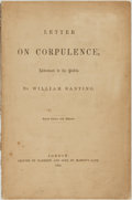 Books:Food & Wine, William Banting. Letter on Corpulence, Addressed to thePublic. London: Printed by Harrison and Sons, 1863....