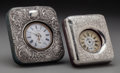 Silver Holloware, British:Holloware, Two Pocket Watches in Silver and Leather Frames, Birmingham,England, circa 1906. Marks to each case: (effaced marks), ST...(Total: 2 Items)