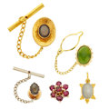 Estate Jewelry:Other , Lot of Multi-Stone, Gold and Gold-Plated Jewelry. ... (Total: 5Items)