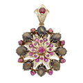 Estate Jewelry:Boxes, Ruby, Star Sapphire, Base Metal Pendant-Brooch. ...