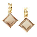 Estate Jewelry:Earrings, Smoky Quartz, Gold Earrings. ...