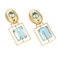 Estate Jewelry:Earrings, Blue Topaz, Diamond, Gold Convertible Earrings. ...