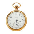 Timepieces:Wristwatch, Waltham 14k Gold Riverside Pocket Watch. ...