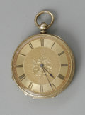 Clocks & Mechanical, A GOLD LADIES PENDENT WATCH. Mottu Geneve, Late 19th century. The 18k gold pocketwatch open face case, gold dial with cent...