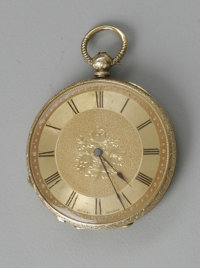 A GOLD LADIES PENDENT WATCH Mottu Geneve, Late 19th century  The 18k gold pocketwatch open face case, gold dial with cen...