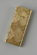 Other:American, A 14K GOLD LIGHTER. Maker unknown. The 14k gold (outer jacket) thinlighter with graphic design, marked 14KT to unders...