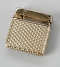 Jewelry, A SQUARE STYLE GOLD LIGHTER. R & P. The gold lighter with patterning to surface, square-style, underside marked R & P / ...