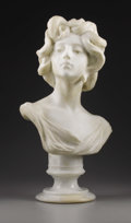 19th Century European, A Marble Bust of a Woman on Pedestal. . A. Batacchi, Italian. 19thCentury. Marble. Signed on back: A. Batacchi and F...
