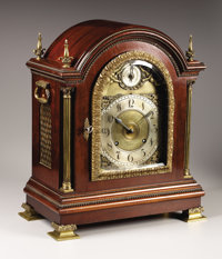 An American Mahogany Chime Clock  Tiffany & Co., New York, New York Circa 1882 Mahogany, gilt and silvere