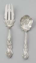 Other:American, AN AMERICAN SILVER BERRY SPOON AND SERVING FORK. American SilverCompany, patented 1906. The set of silver plate repousse ...(Total: 2 Items)