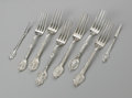 Silver Flatware, American:Gorham, Six American Silver Forks and Two Nut Picks Marks of Gorham,Providence, RI; and unknown maker, c.1864 The group, all in... (8Items)
