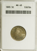 1893 5C MS63 ANACS. NGC Census: (67/226). PCGS Population (106/247). Mintage: 13,370,195. Numismedia Wsl. Price for NGC/...