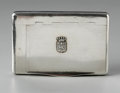 Other:American, A SILVER CIGARETTE CASE. Maker unknown. The hinged metal cigarettesafe with side match compartment and textured striking ...