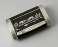 Other:American, A WOOD AND SILVER TOBACCO BOX. Maker unknown. The hand-made woodencase with silver accents engraved LA SAN-CLAUDIENNE /...