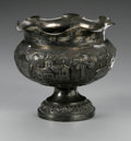 Other:American, A SILVER COMPOTE. Maker unknown. The repousse footed silver compotewith a central band of Chinese building and palm motif...