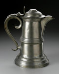 Silver Holloware, American:Flagons, An American Pewter Flagon Mark of Sheldon & Feltman, Albany,NY, c.1847 The dome foot flagon with a cylindrical body wit...