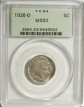 1928-D 5C MS63 PCGS. PCGS Population (471/1366). NGC Census: (286/868). Mintage: 6,436,000. Numismedia Wsl. Price for NG...