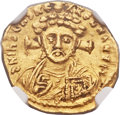 Ancients:Byzantine, Ancients: Justinian II, second reign (AD 705-711). AV tremissis (15mm, 1.40 gm, 6h)....