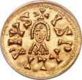 Ancients:Byzantine, Ancients: VISIGOTHIC SPAIN. Sisebut (AD 612-621). Gold TremissisND, Ispali mint, MEC-Unlisted, Miles-187, MS63 ANACS....