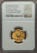 Ancients:Byzantine, Ancients: Tiberius II Constantine (AD 578-582). AV solidus (4.43gm)....