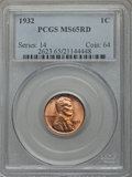 Lincoln Cents: , 1932 1C MS65 Red PCGS. PCGS Population (759/491). NGC Census: (240/196). Mintage: 9,062,000. Numismedia Wsl. Price for prob...