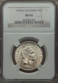 Colombia, Colombia: Republic 50 Centavos 1934-(S) MS65 NGC,...