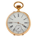 Timepieces:Pocket (pre 1900) , Swiss 18k Gold Lever Escapement Pocket Watch. ...